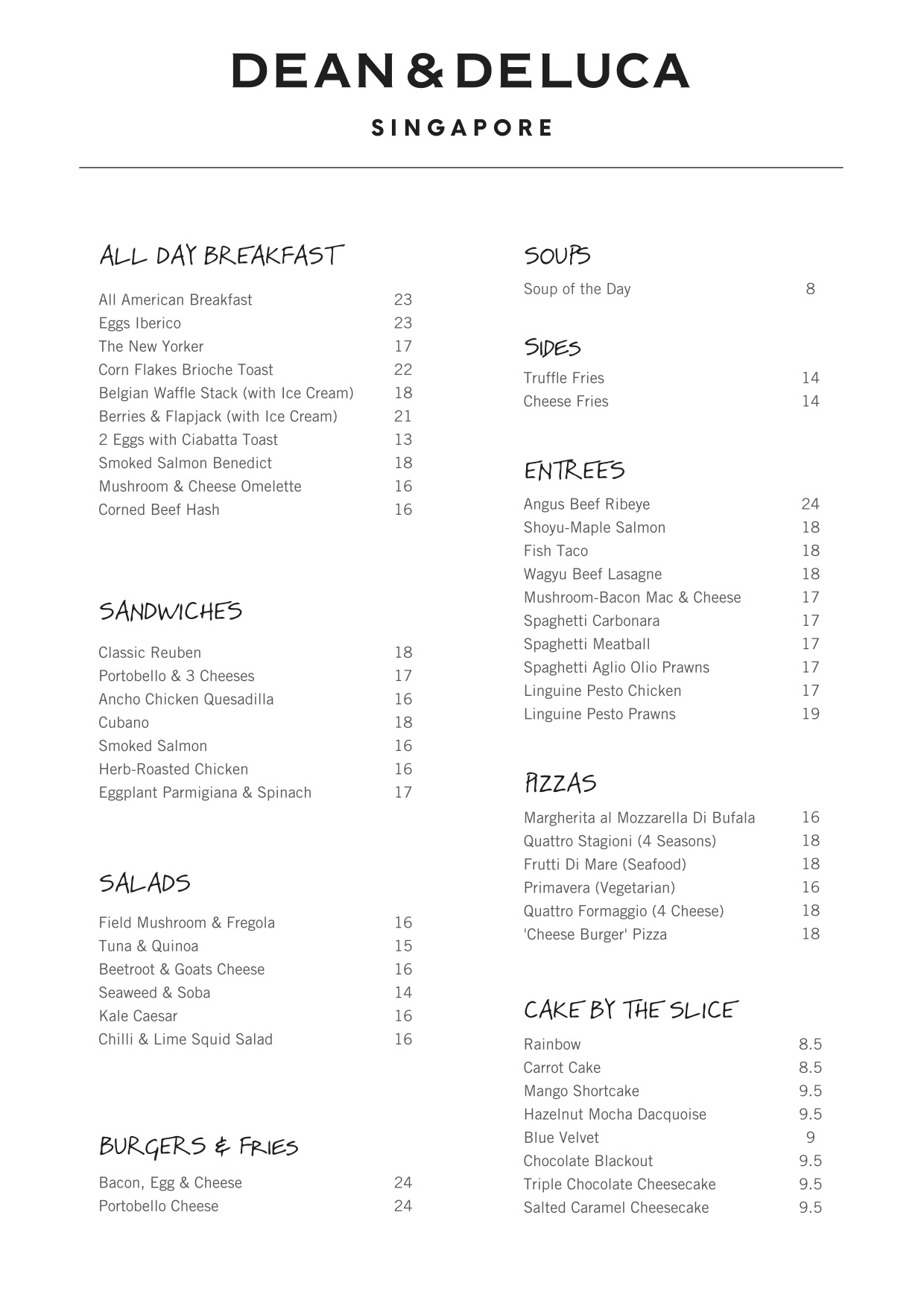 Dean & Deluca @ HillV2 - Menu Pg1 - TREAT