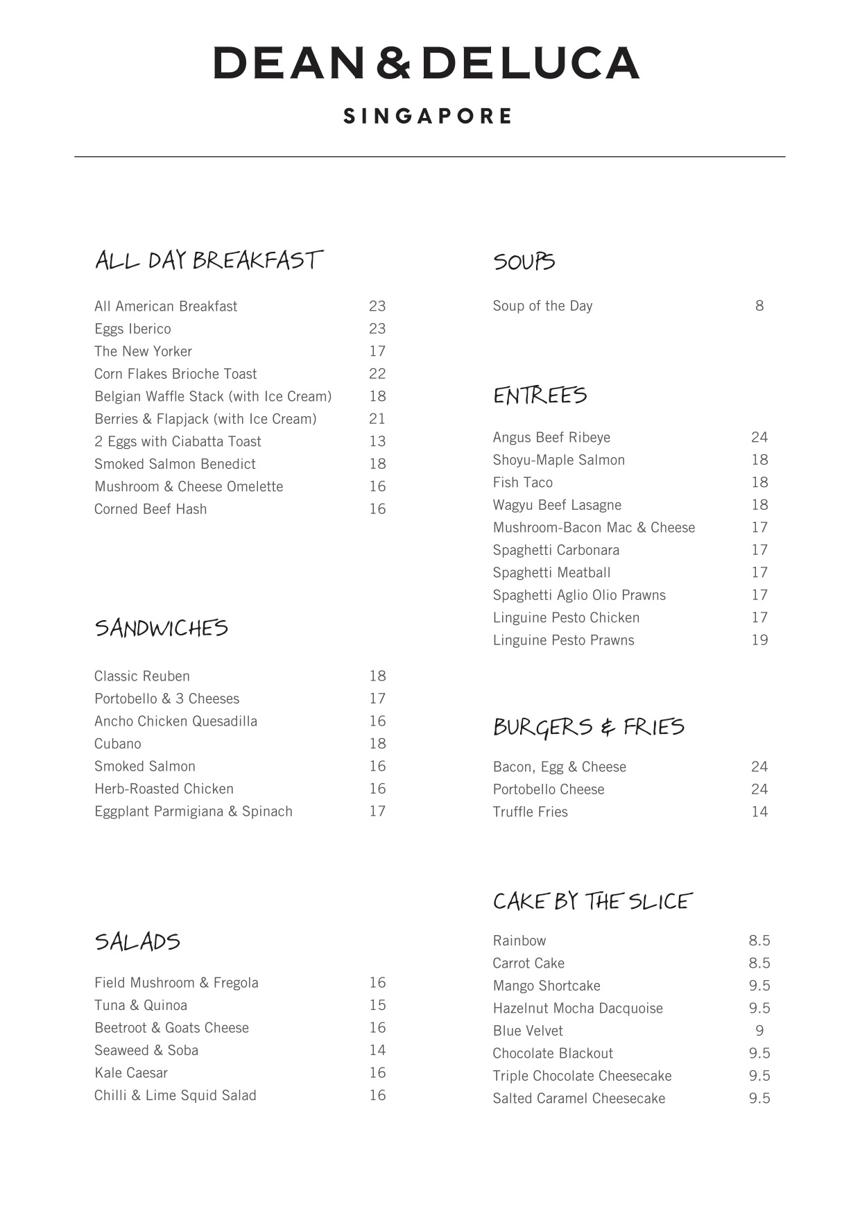Dean & Deluca @ Far East Square - Menu Pg1 - TREAT