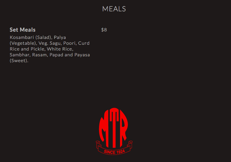 MTR - Meals Menu - TREAT