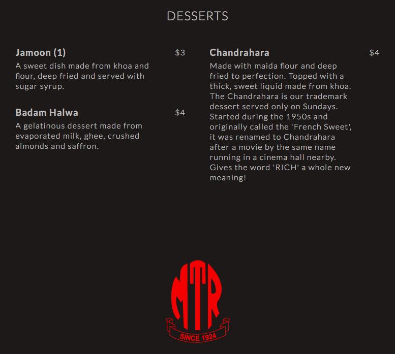 MTR - Desserts Menu - TREAT