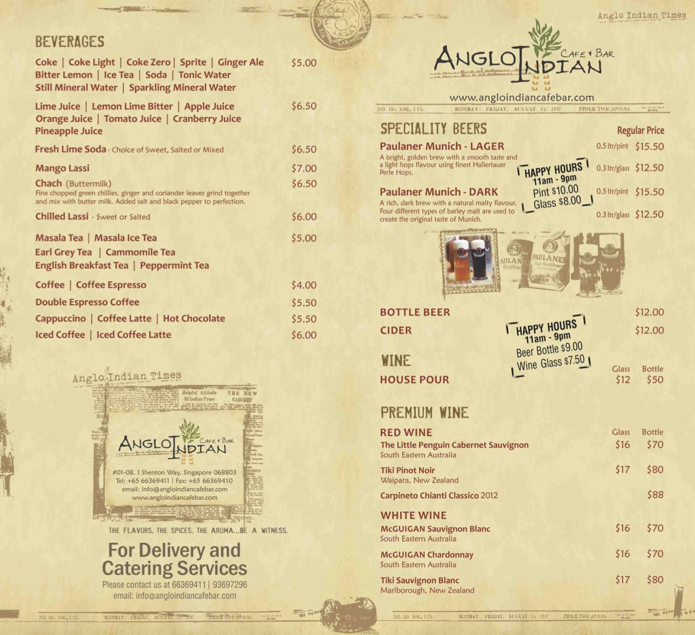 Angli Indian Cafe & Bar - Beverages Menu Pg1 - TREAT