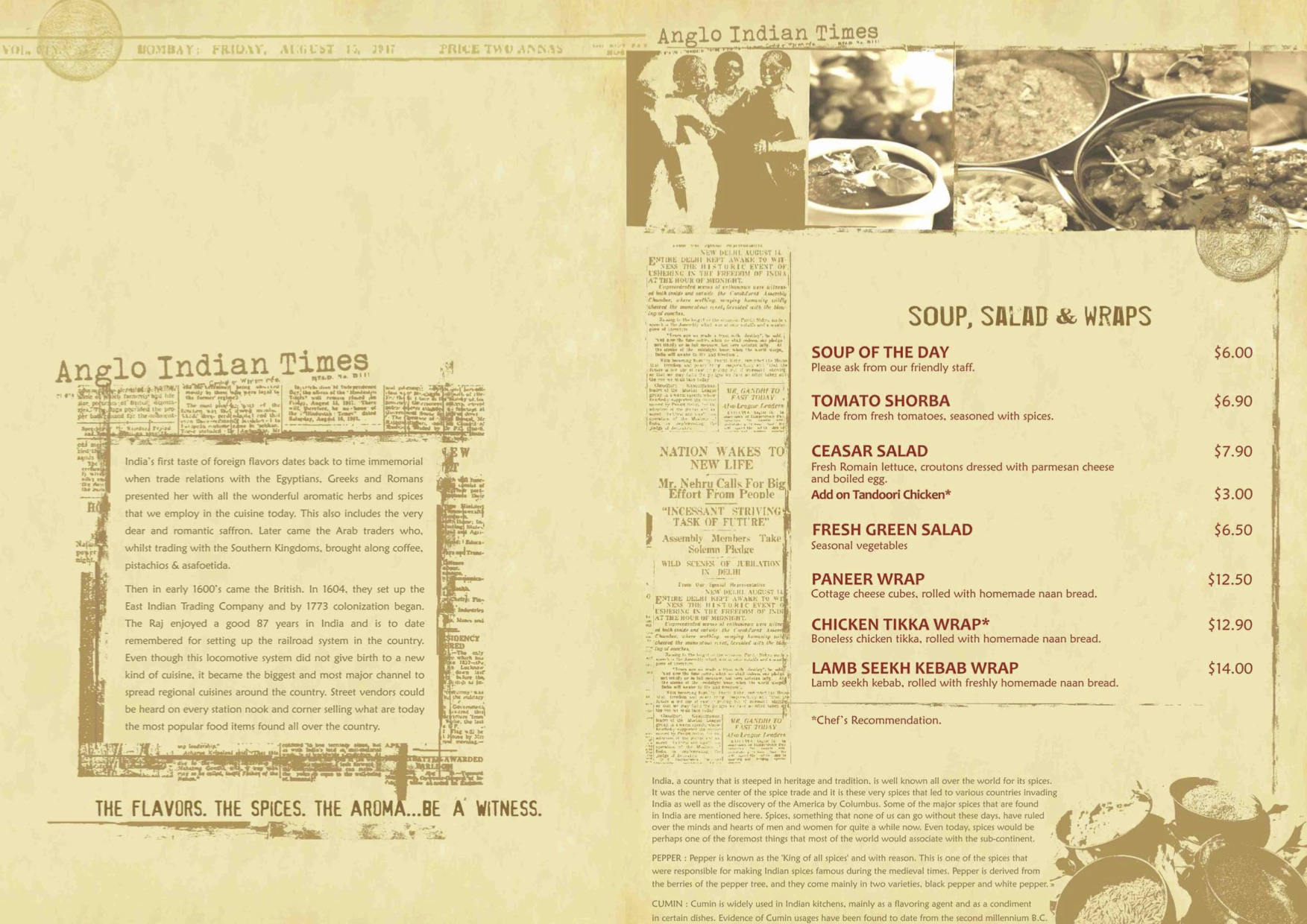 Angli Indian Cafe & Bar - Food Menu Pg1 - TREAT