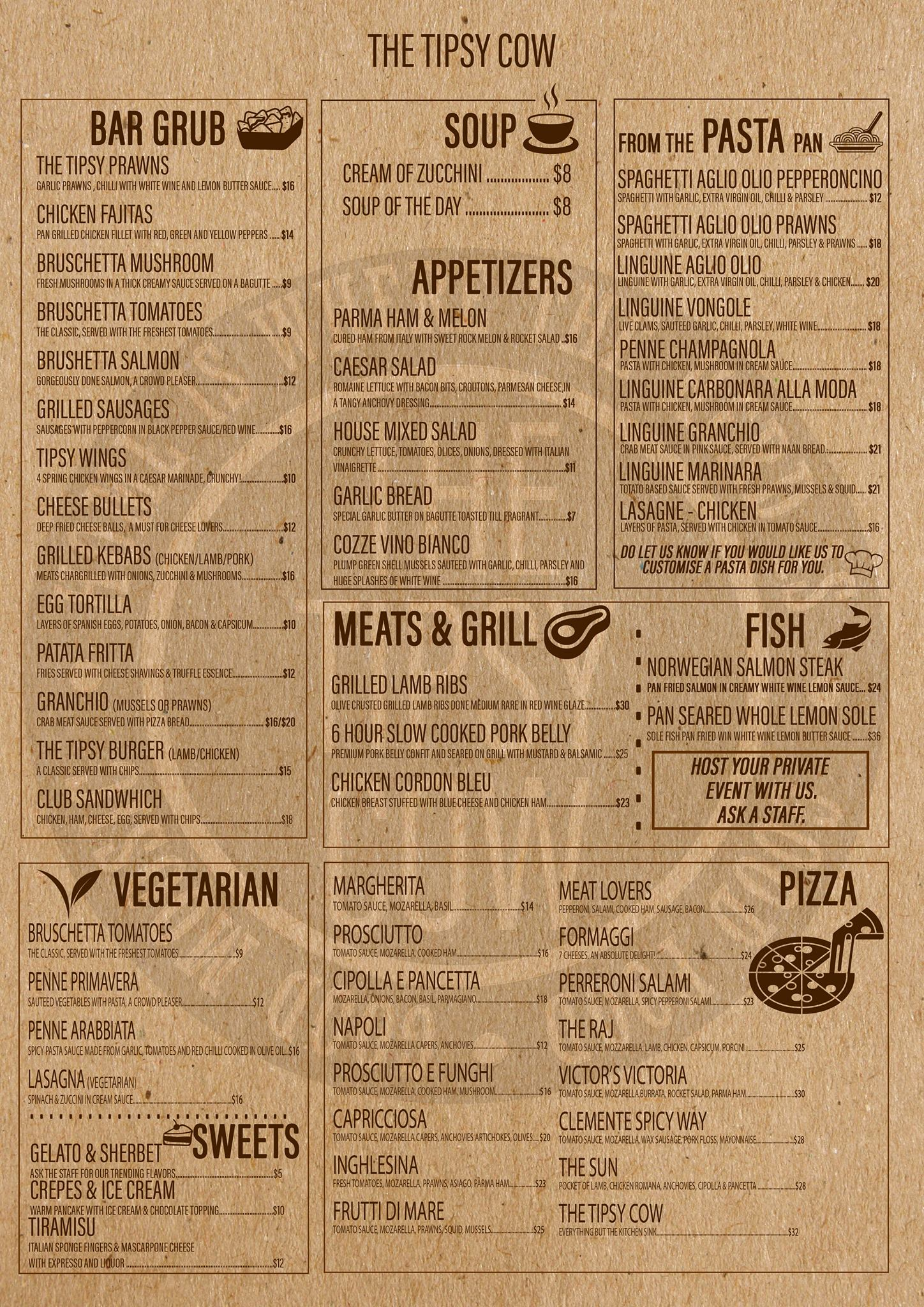 The Tipsy Cow - Food & Beverage Menu - TREAT