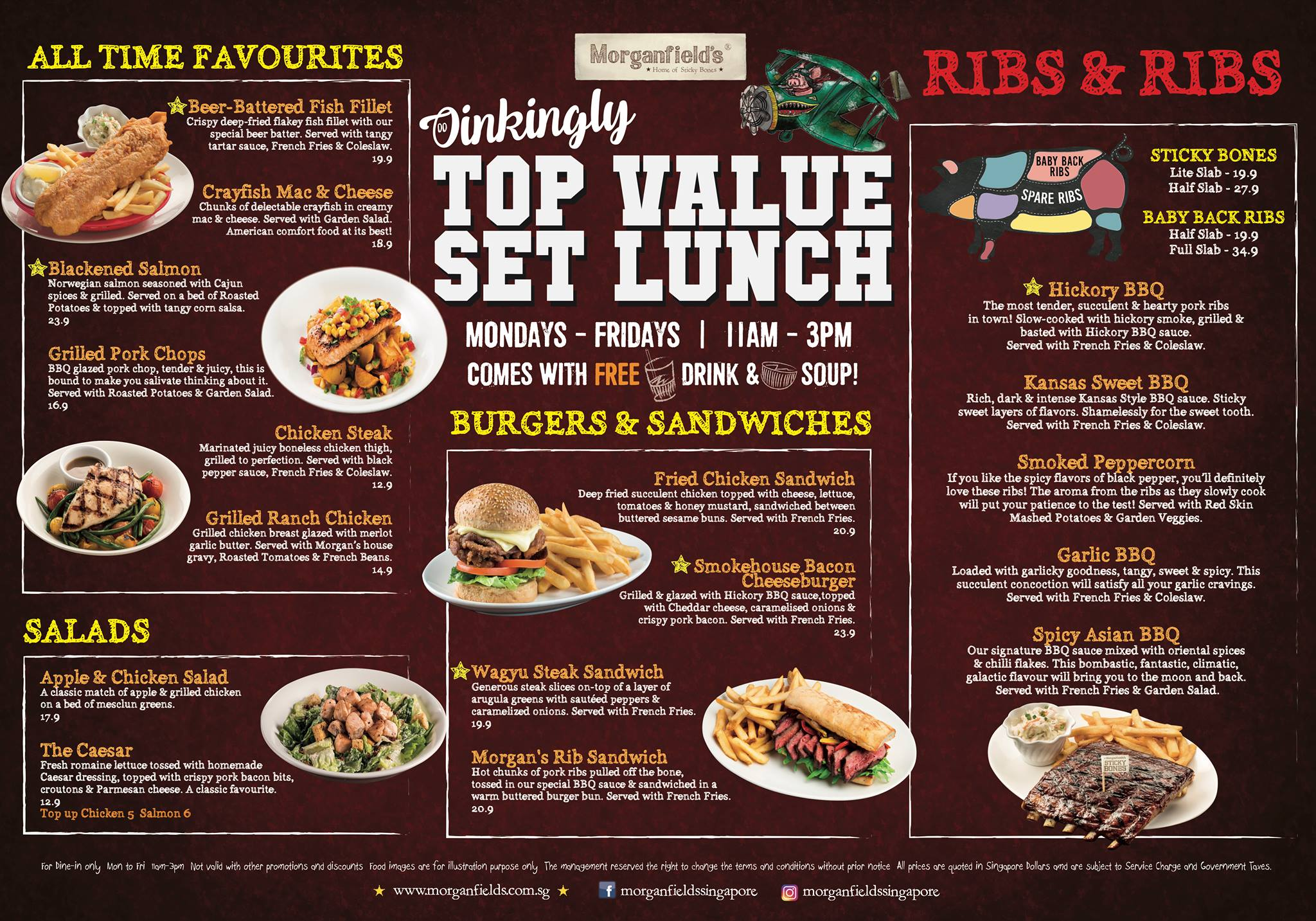 Morganfield's - Set Lunch Menu - TREAT