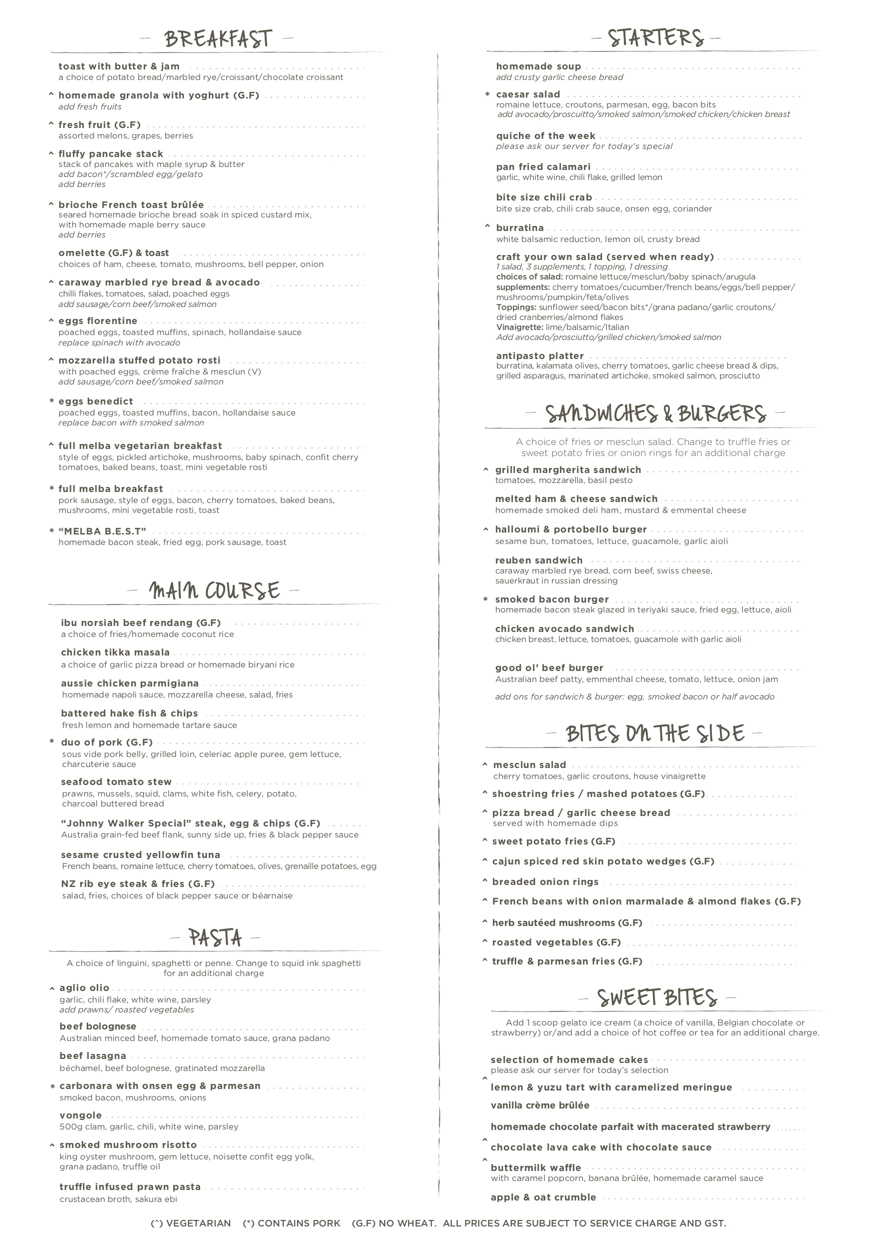 Cafe Melba @ Mediapolis - Menu Pg1 - TREAT