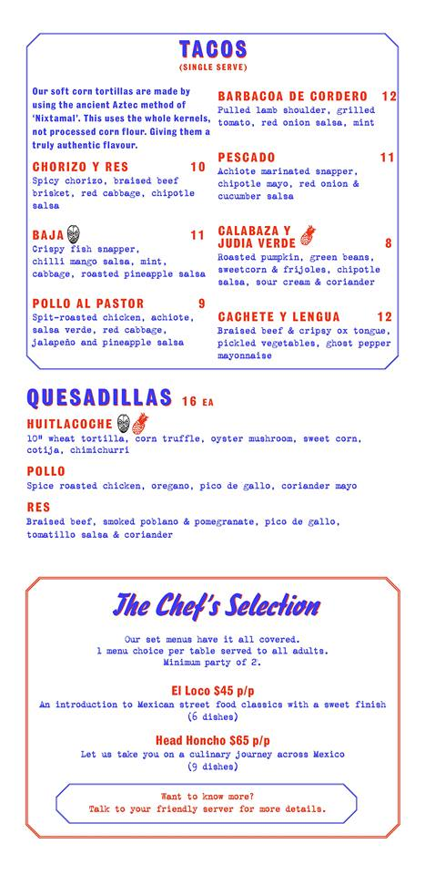 Super Loco @ Robertson Quay - Dinner Menu Pg2 - TREAT