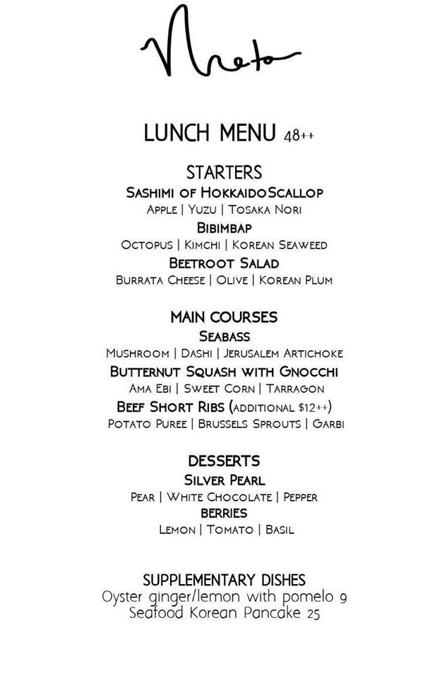 Meta Restaurant - Lunch Menu - TREAT