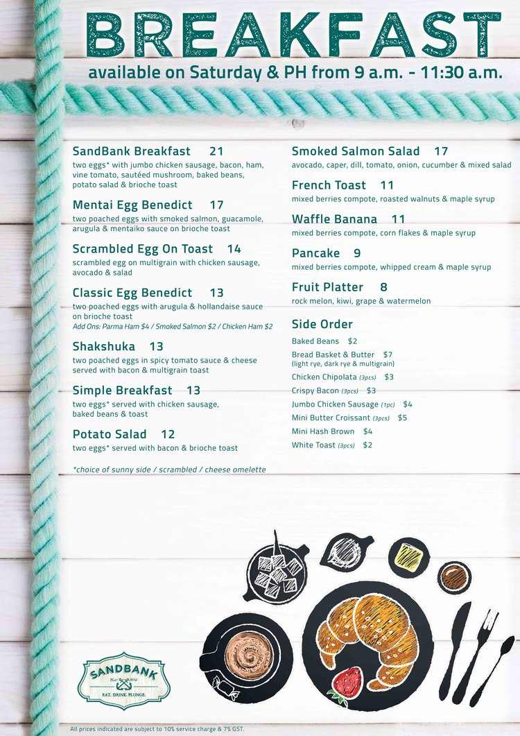 SandBank - Breakfast Menu - TREAT