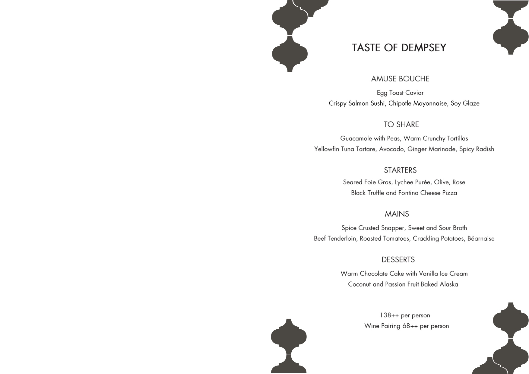 The Dempsey Cookhouse & Bar - Dinner Menu Pg1 - TREAT