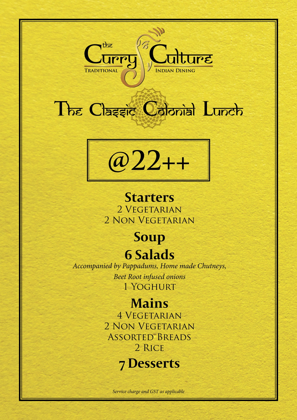 The Curry Culture - Set Lunch Menu - TREAT