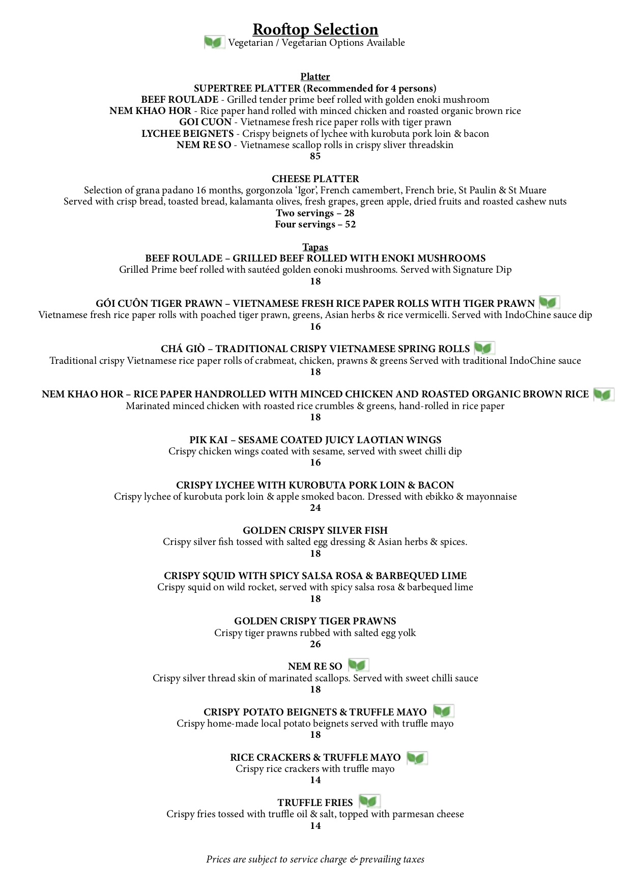 SuperTree by IndoChine - Dining Menu - TREAT