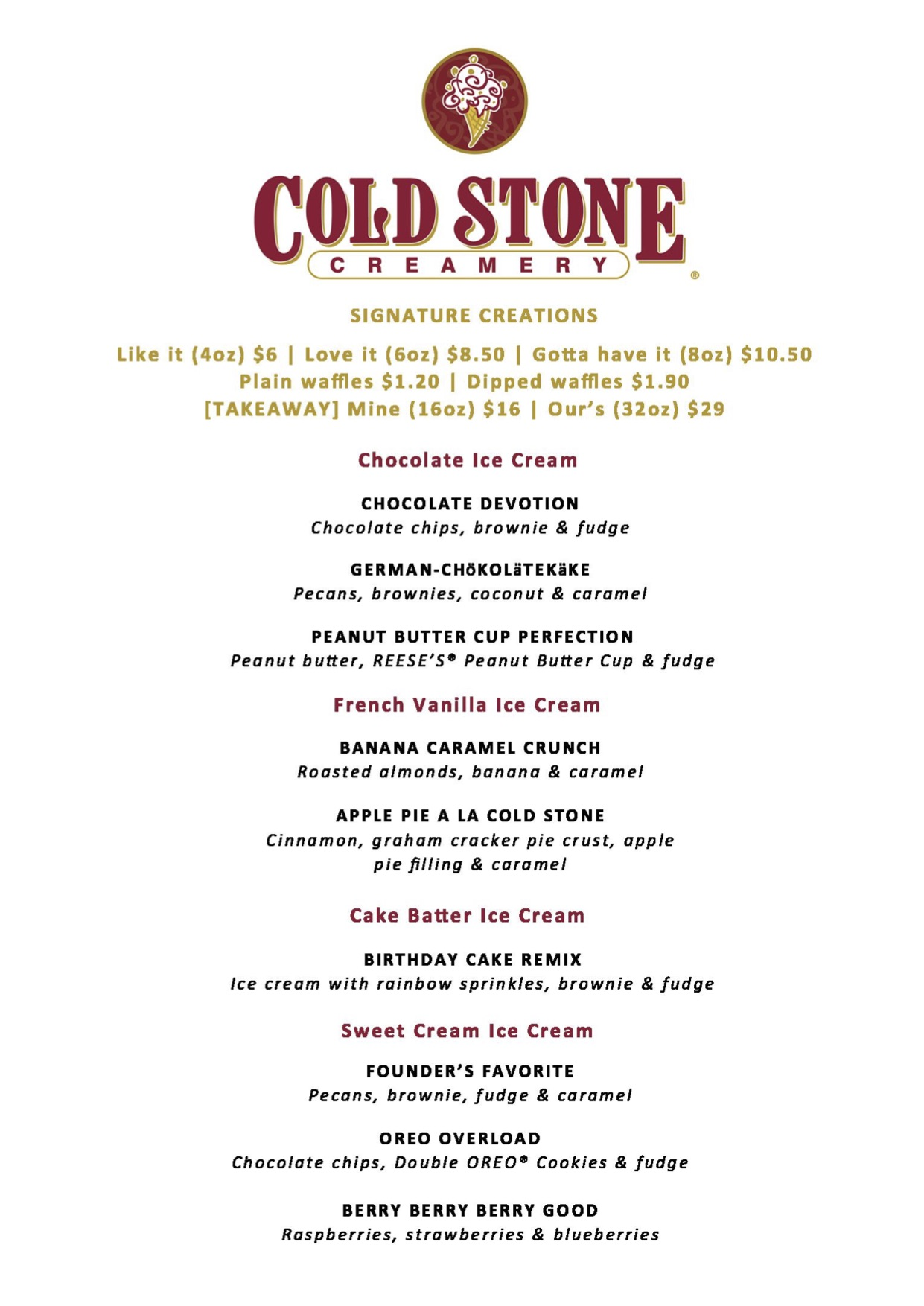Cold Stone Creamery - Menu - TREAT